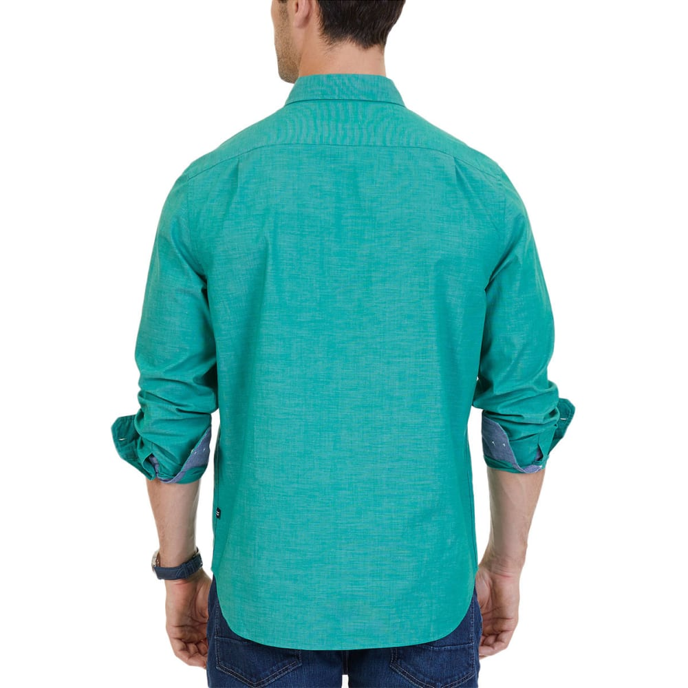 NAUTICA Men's Classic Fit Stretch Woven Long-Sleeve Shirt - VERADENT GRN-30F