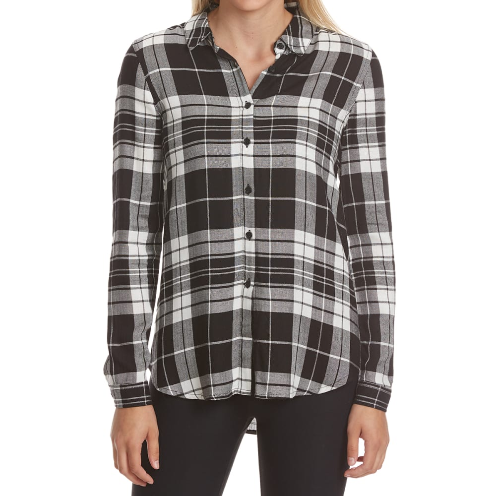 PINK ROSE Juniors' Lace Back Plaid Long-Sleeve Shirt S
