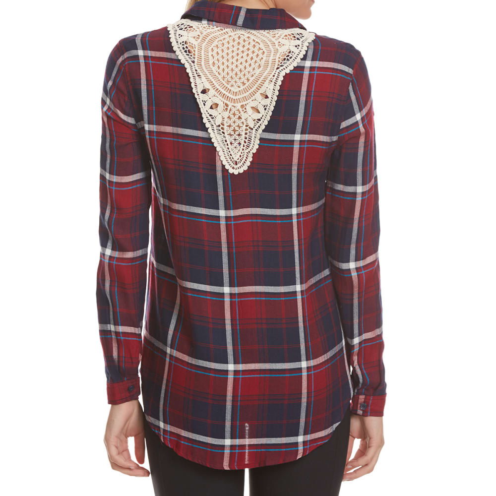 PINK ROSE Juniors' Lace Back Plaid Long-Sleeve Shirt - POM/BLUE COMBO
