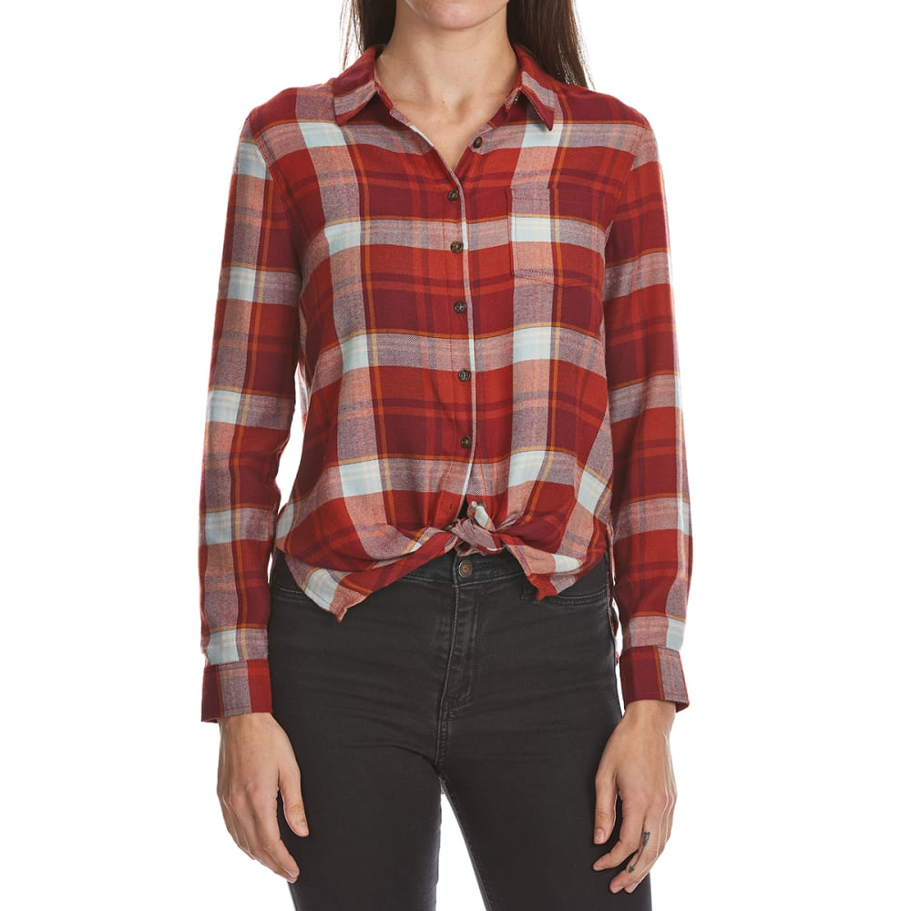 PINK ROSE Juniors' Tie Front Plaid Shirt - RED MULTI