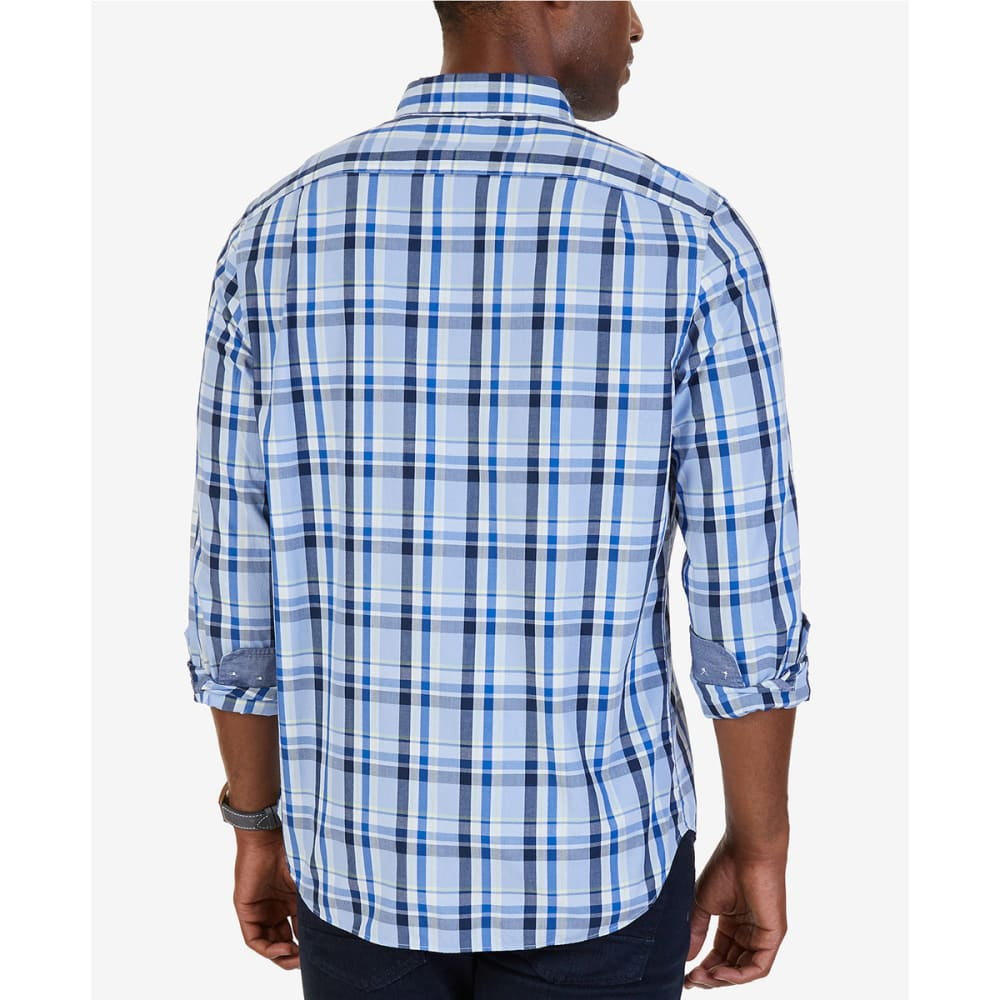 NAUTICA Men's Classic Fit Oversize Plaid Poplin Shirt - LINEN BLUE-4HL