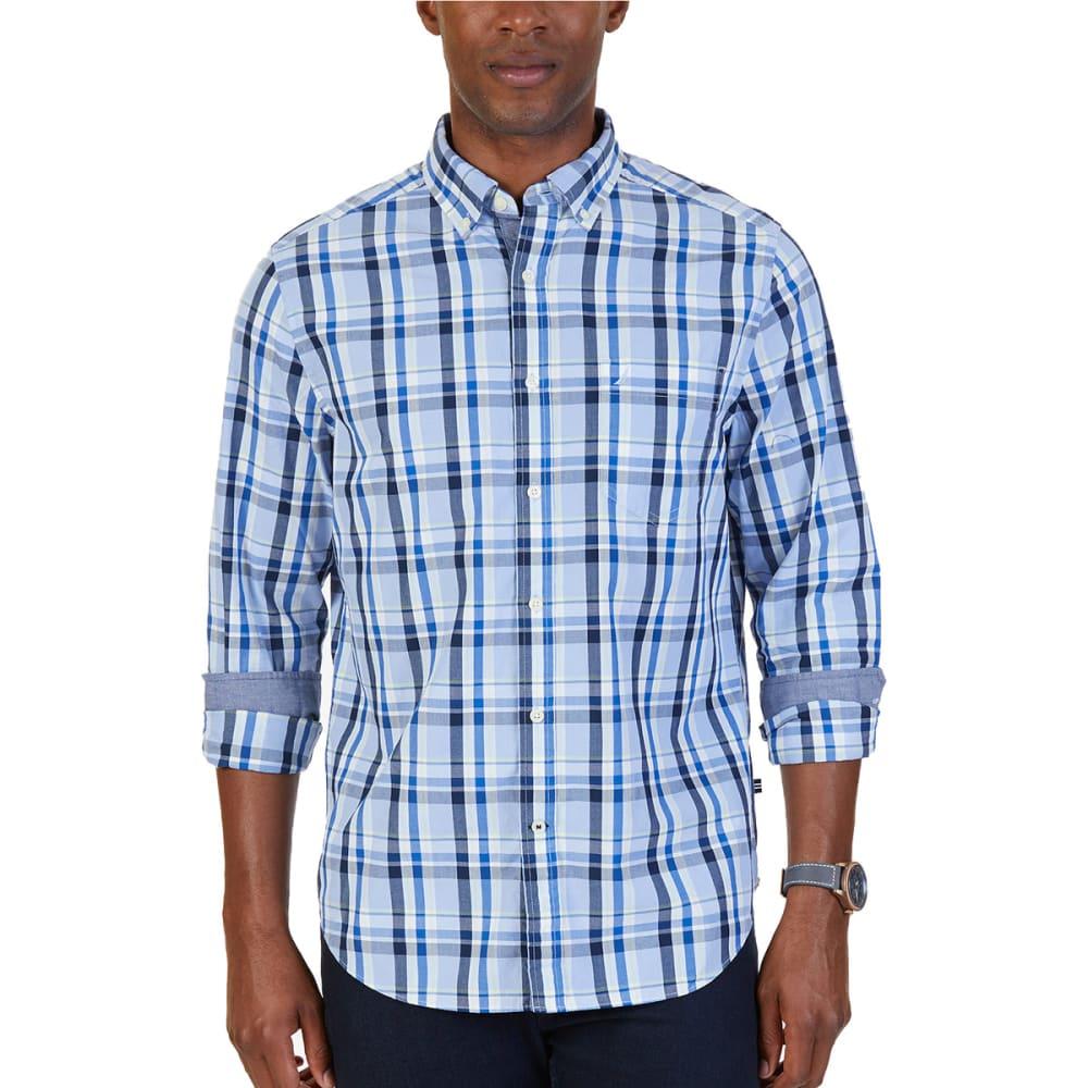 NAUTICA Men's Classic Fit Oversize Plaid Poplin Shirt - LINEN BLUE-4HL