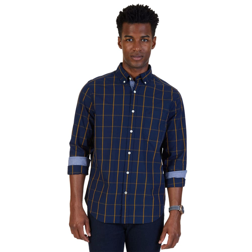 NAUTICA Men's Classic Fit Windowpane Poplin Shirt - MARITIME NVY-4MN
