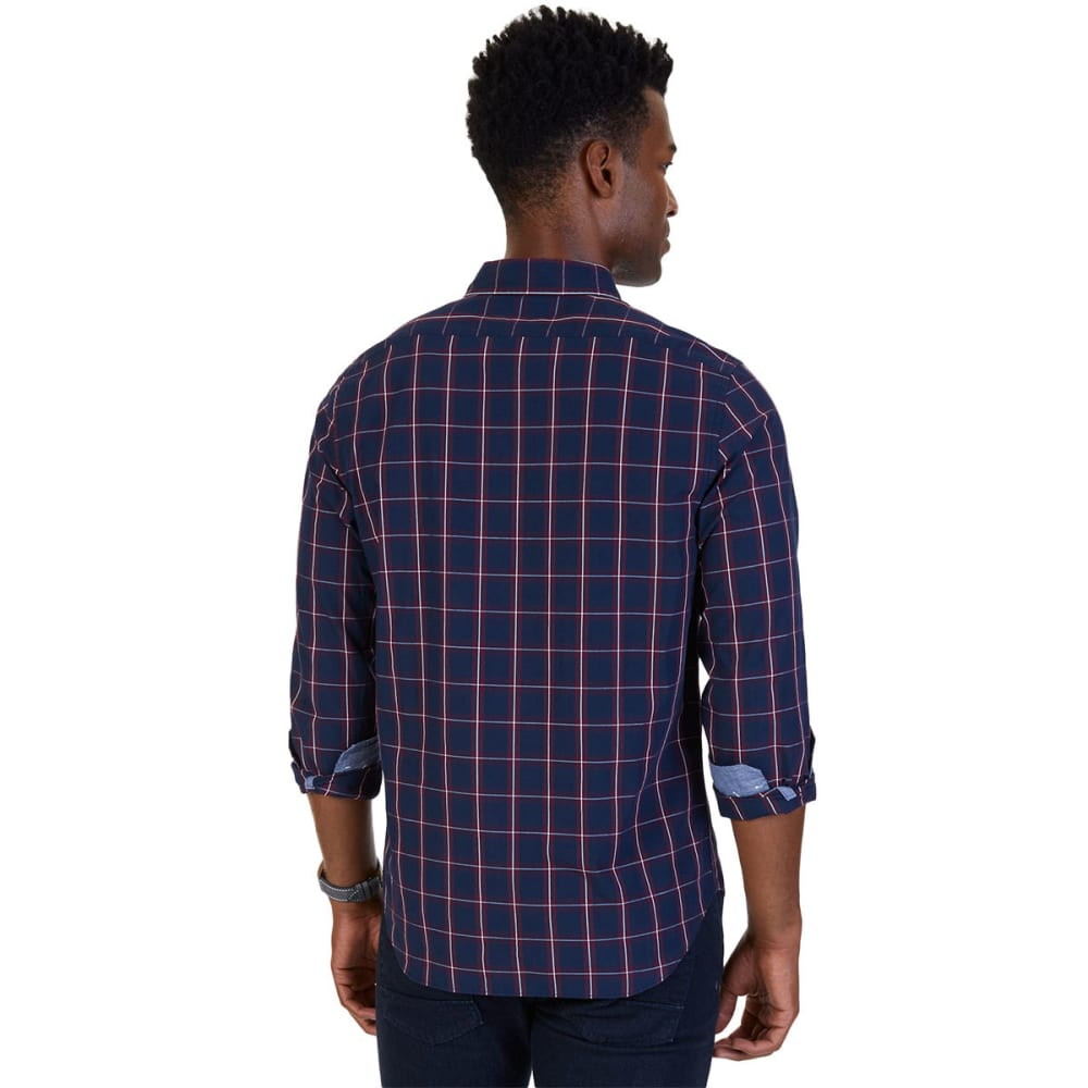NAUTICA Men's Slim Fit Windowpane Plaid Shirt - MARITIME NVY-4MN