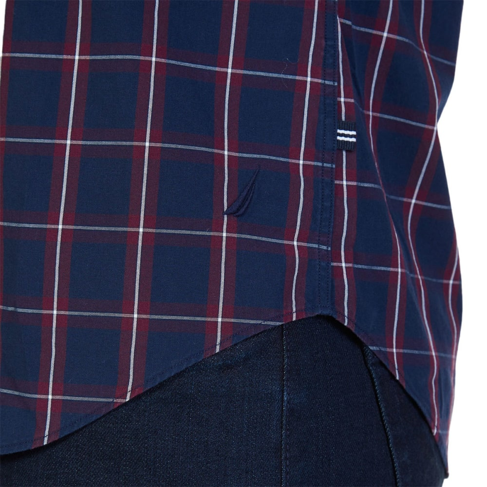 NAUTICA Men's Slim Fit Windowpane Plaid Shirt - MARITIME NVY-4MN