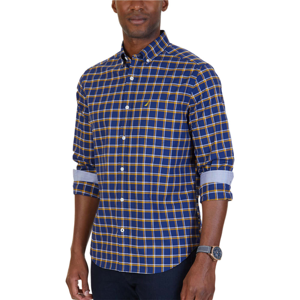 NAUTICA Men's Woven Classic Fit Wrinkle Resistant Plaid Shirt - NVY/YELL-7YG