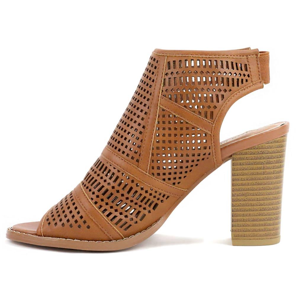 OLIVIA MILLER Women's Perforated Peep Toe Booties, Cognac - COGNAC