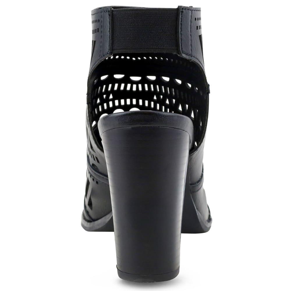 OLIVIA MILLER Women's Perforated Peep Toe Booties, Black - BLACK