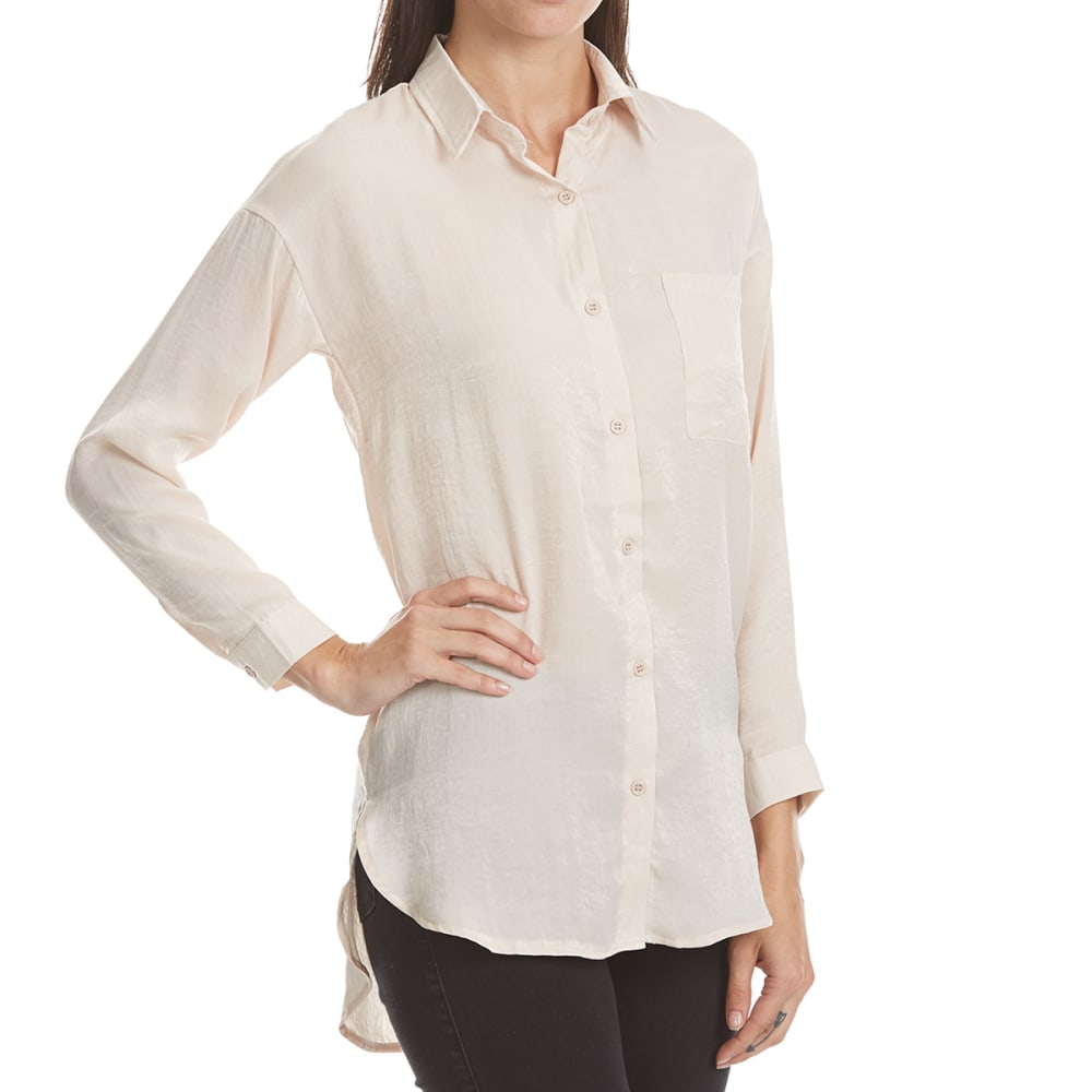ALMOST FAMOUS Juniors' Oversized Button-Front Satin Blouse - CHAMPAGNE