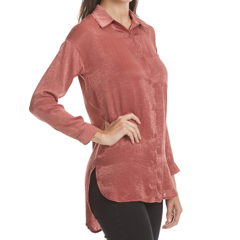 ALMOST FAMOUS Juniors' Oversized Button-Front Satin Blouse - MARSALA