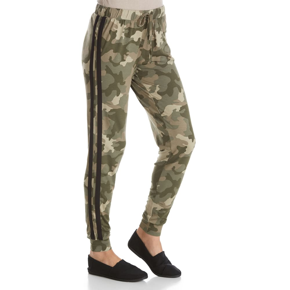 PINK ROSE Juniors' Double-Stripe Camo Jogger Pants - CAMO PRINT