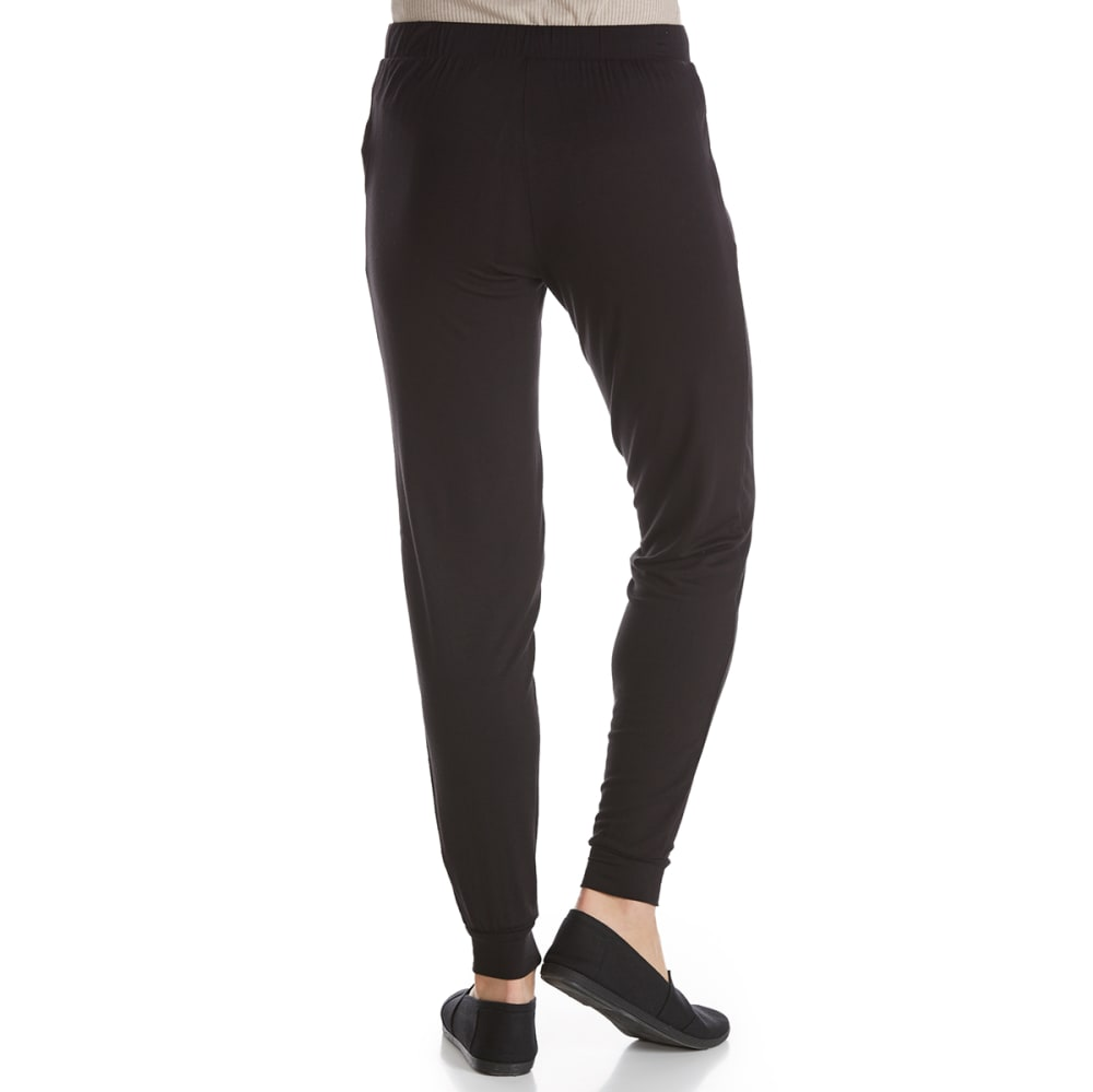 PINK ROSE Juniors' Solid Jogger Pants with Pockets - BLACK