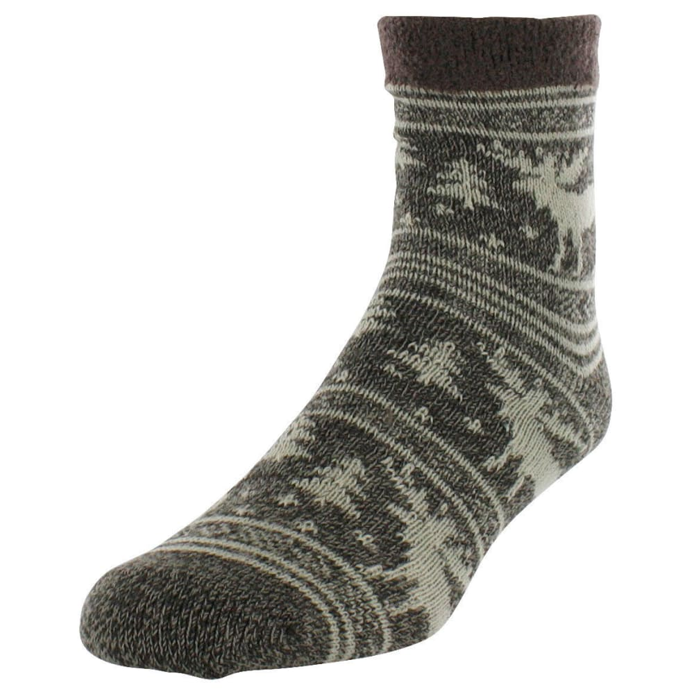 SOF SOLE Men's Fireside Moose Print Socks - BROWN MOOSE
