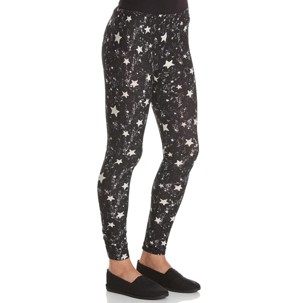 PINK ROSE Juniors' Peached Printed Leggings - BLK DIST STAR