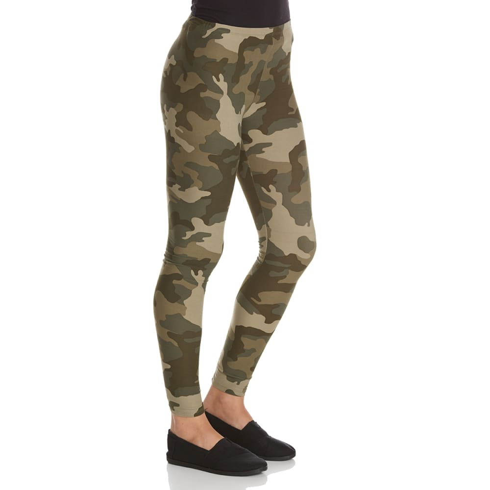 PINK ROSE Juniors' Peached Printed Leggings - OLIVE CAMO