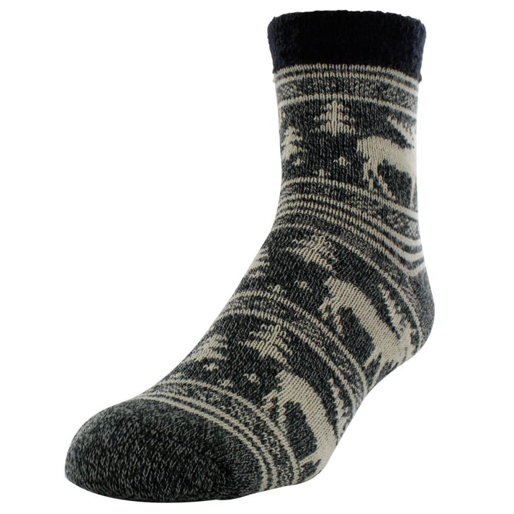 SOF SOLE Men's Fireside Moose Print Socks - BLACK