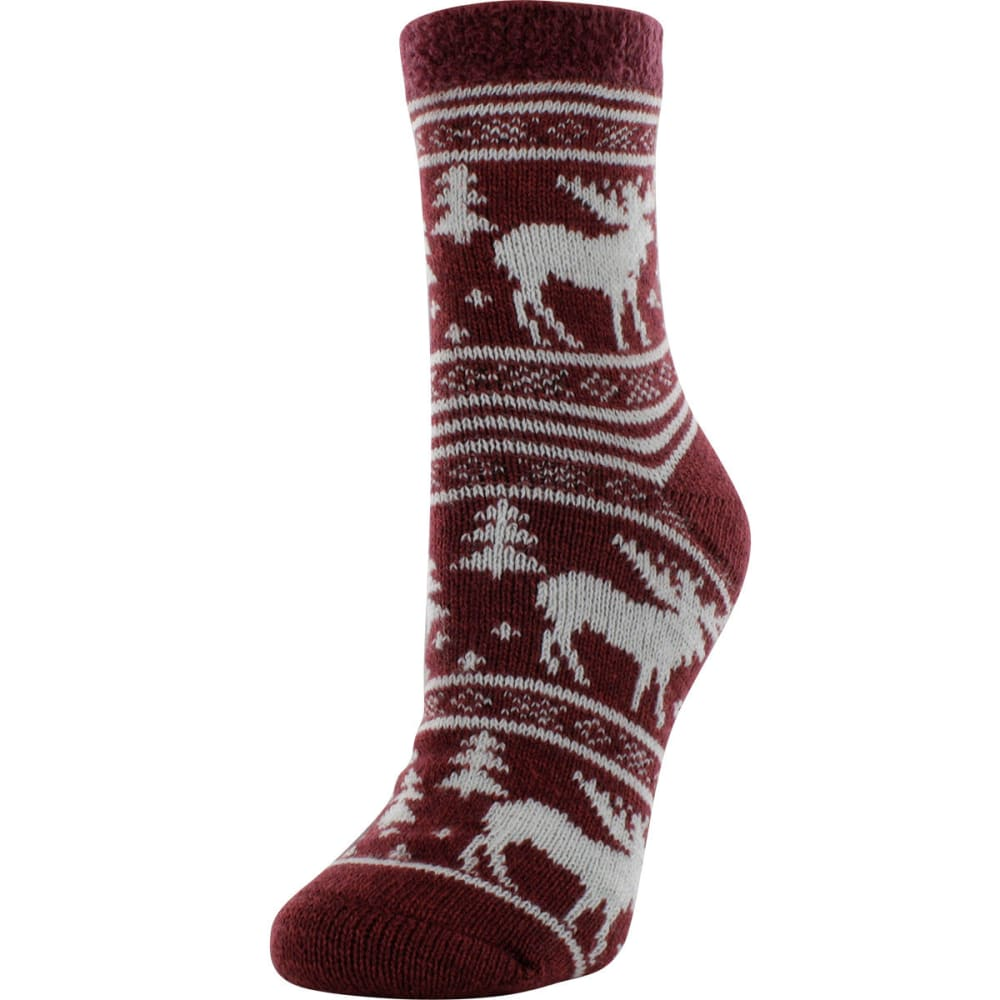 SOF SOLE Women's Fireside Moose Print Socks - WINE