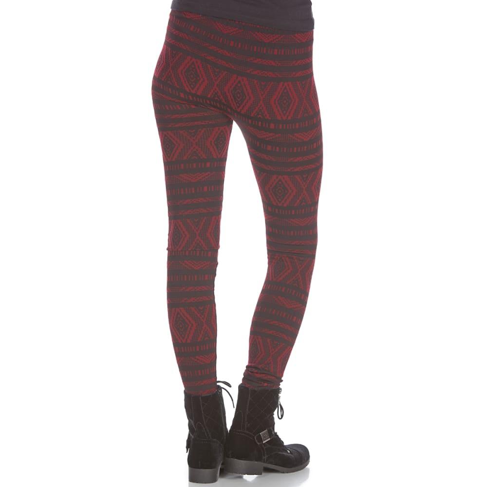 PINK ROSE Juniors' Jacquard Fleece-Lined Leggings - BLK BURG TRIBAL CHEC