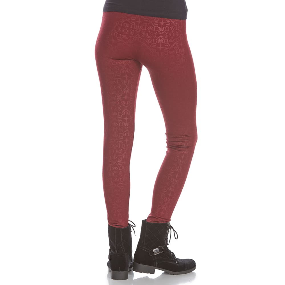 PINK ROSE Juniors' Embossed Fleece-Lined Leggings - BURG BOHO TILE