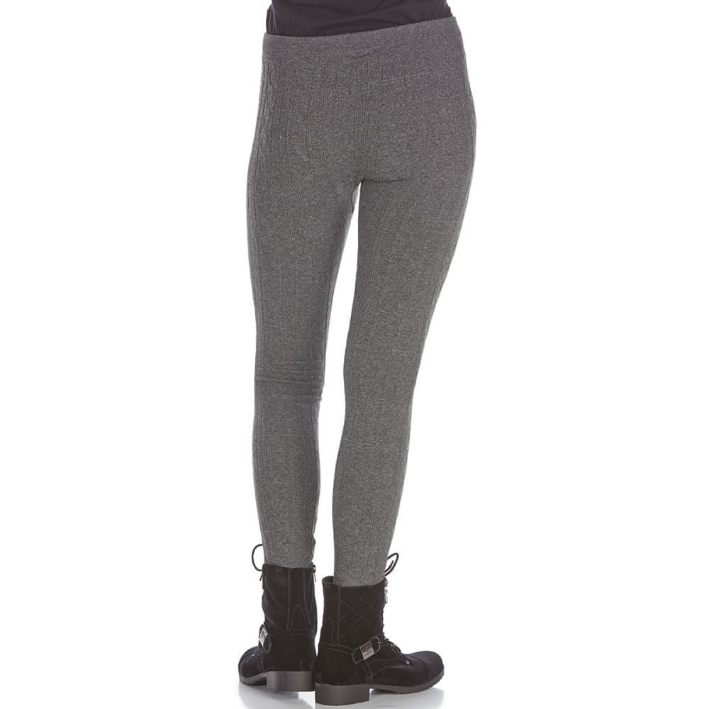PINK ROSE Juniors' Cable Fleece-Lined Leggings - CHARC BABY CABLE RIB