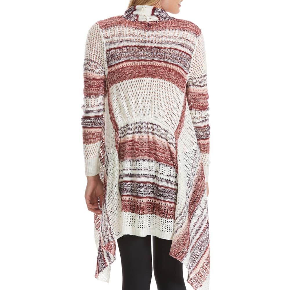 ALMOST FAMOUS Juniors' Pointelle Stripe Cascade Cardigan - ROSE COMBO