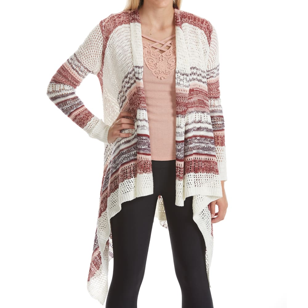 ALMOST FAMOUS Juniors' Pointelle Stripe Cascade Cardigan - ROSE COMBO