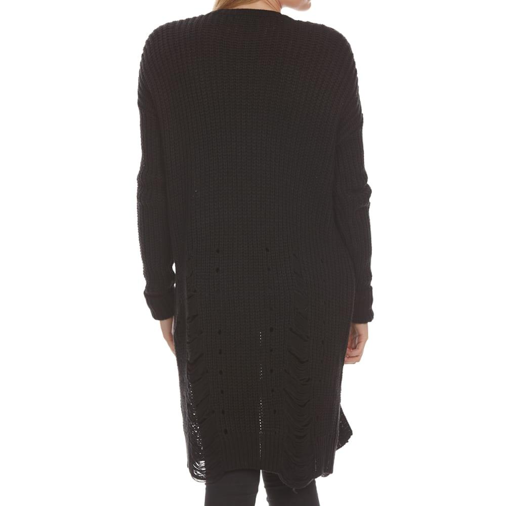 ALMOST FAMOUS Juniors' Distressed Cardigan - BLACK