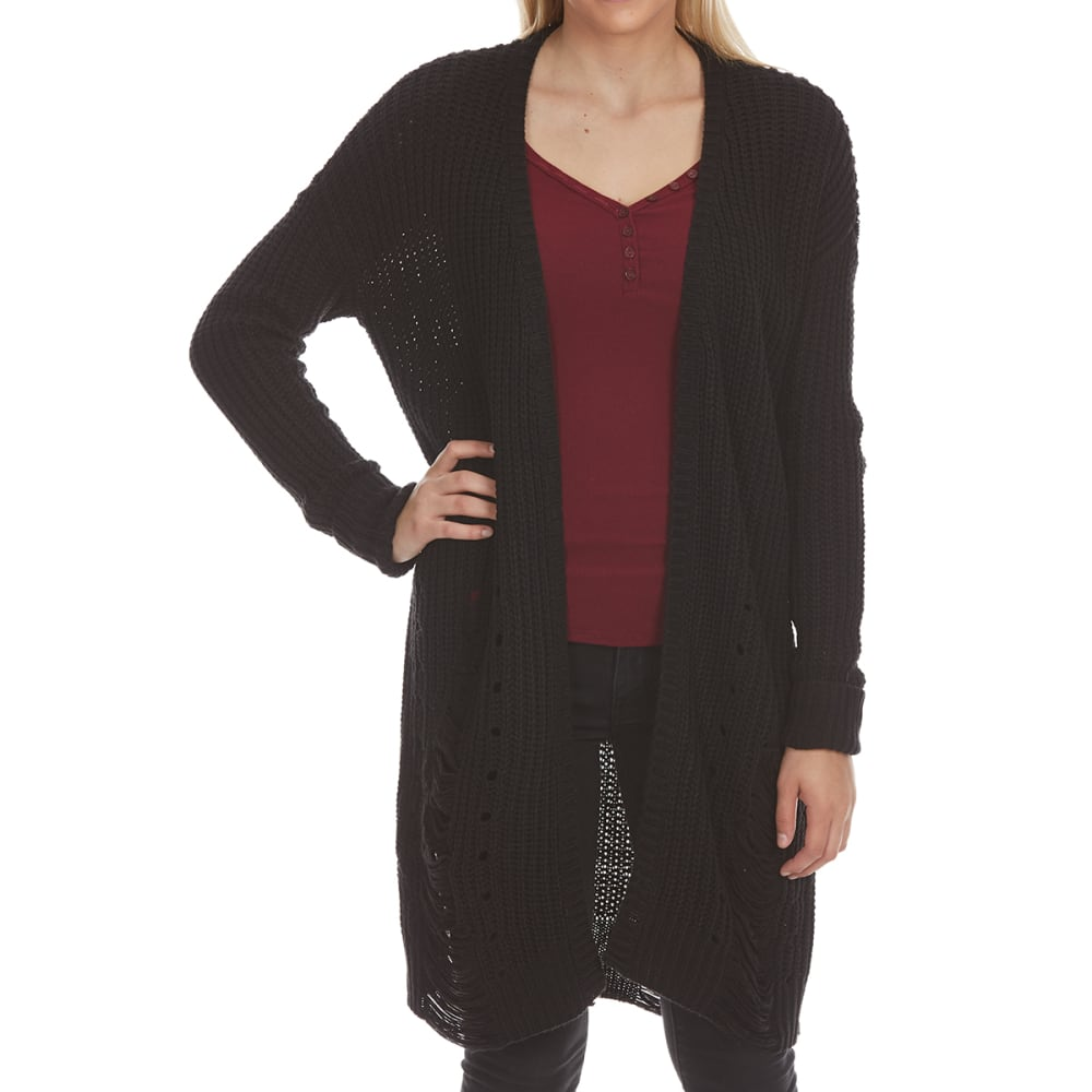 Almost Famous Juniors Distressed Cardigan - Black, M