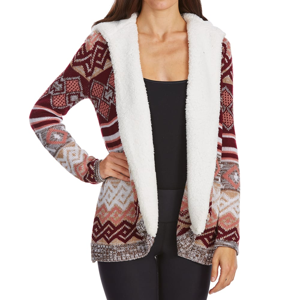 ALMOST FAMOUS Juniors' Sherpa Jacquard Hooded Cardigan - RED/WINE COMBO