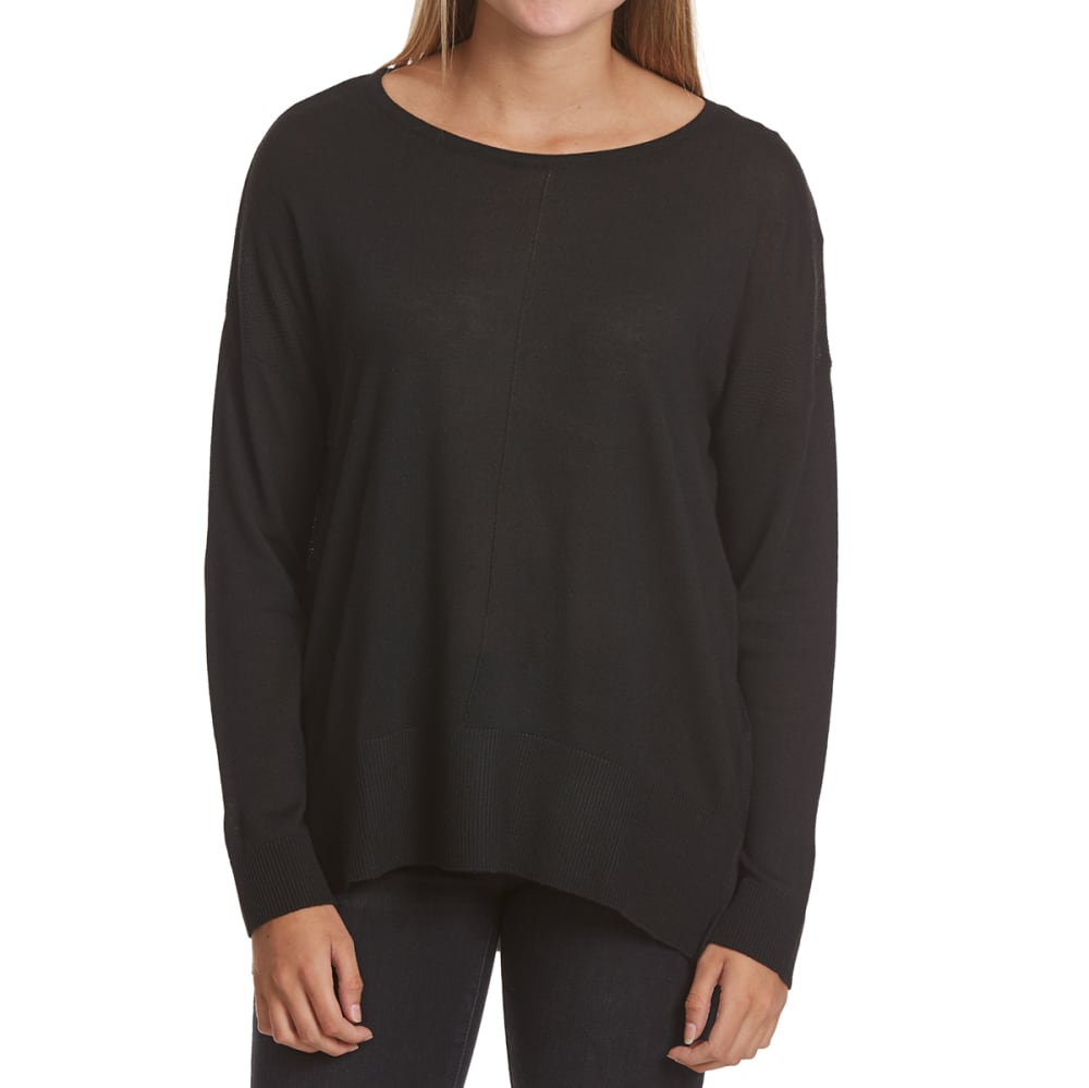POOF Juniors' 12 GG High-Low Long-Sleeve Sweater - BLACK
