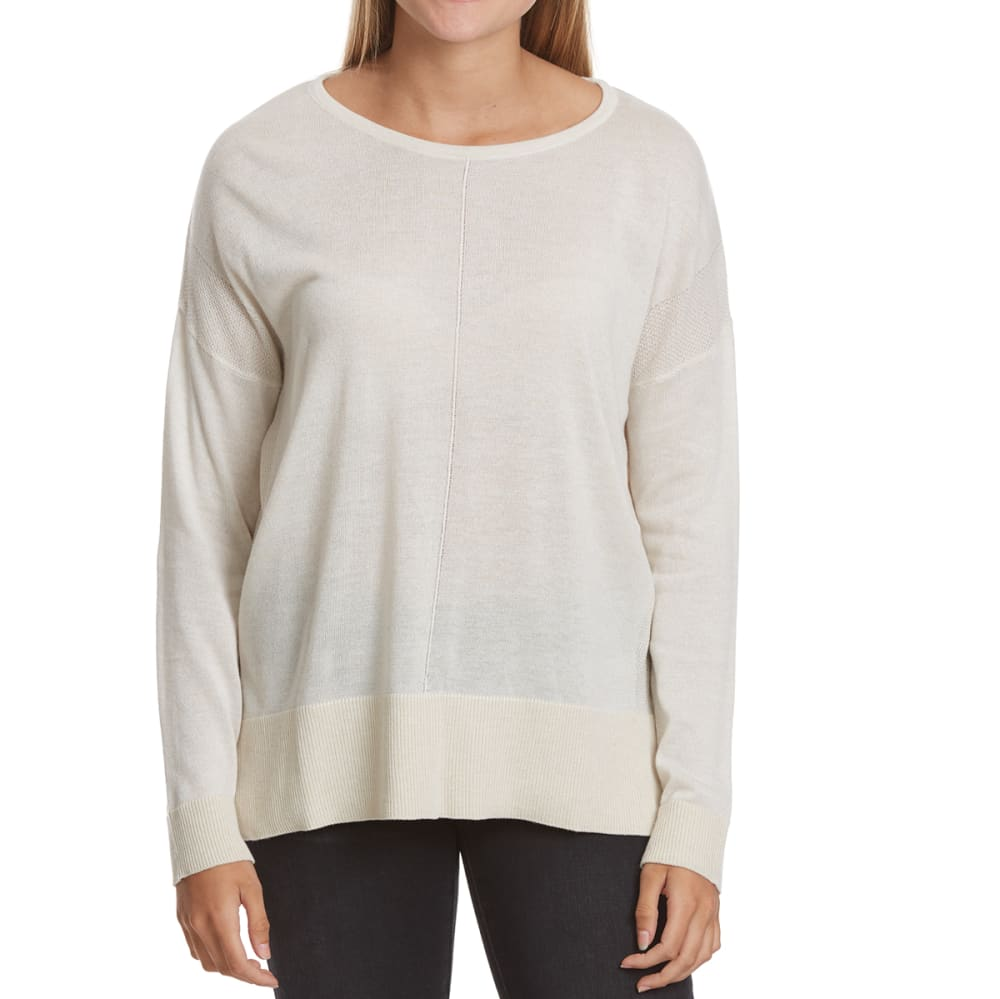 POOF Juniors' 12 GG High-Low Long-Sleeve Sweater - OATMEAL HTHR