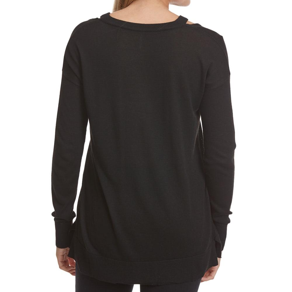 POOF Juniors' Cutout Detail V-Neck Long-Sleeve Sweater - BLACK