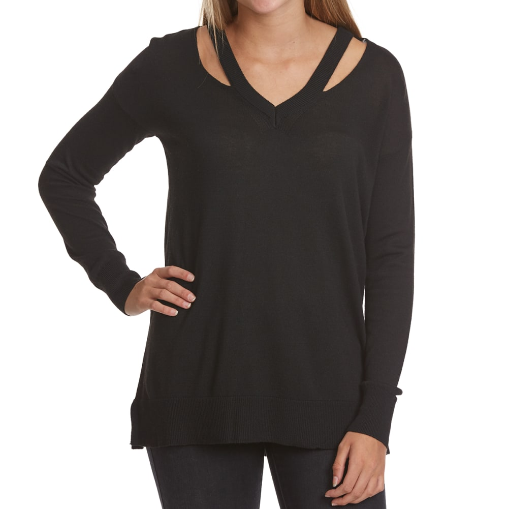 POOF Juniors' Cutout Detail V-Neck Long-Sleeve Sweater - BLACK