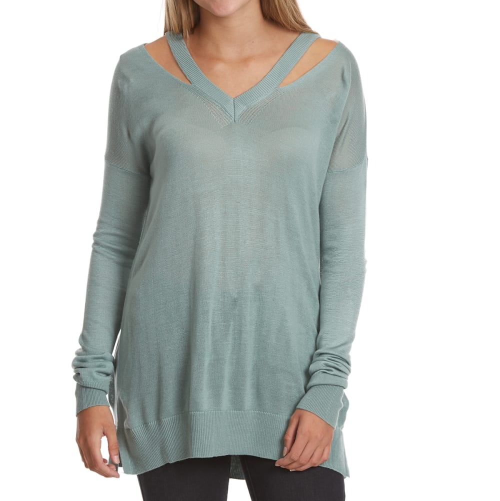 POOF Juniors' Cutout Detail V-Neck Long-Sleeve Sweater - DUSTY SAGE
