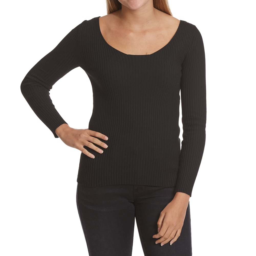 POOF Juniors' Ribcage Back Long-Sleeve Sweater - BLACK