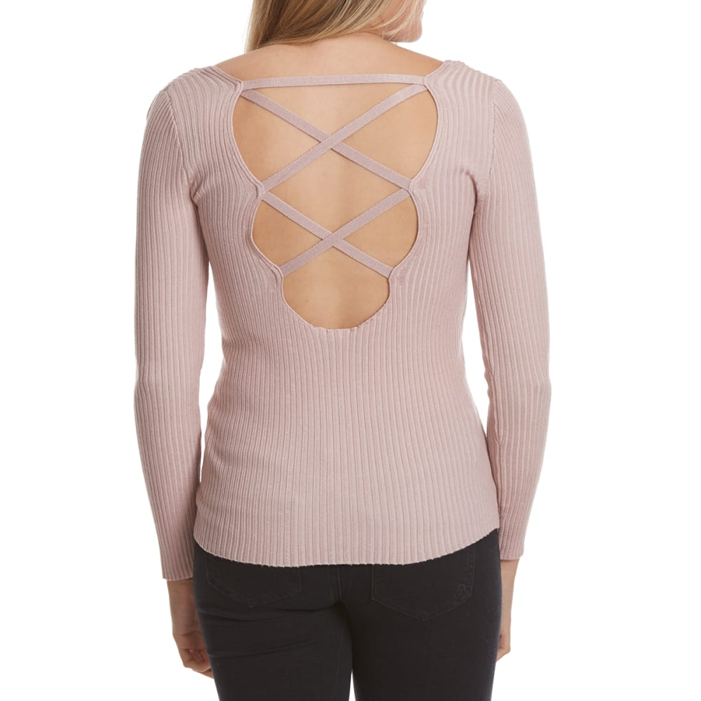 POOF Juniors' Ribcage Back Long-Sleeve Sweater - MISTY ROSE