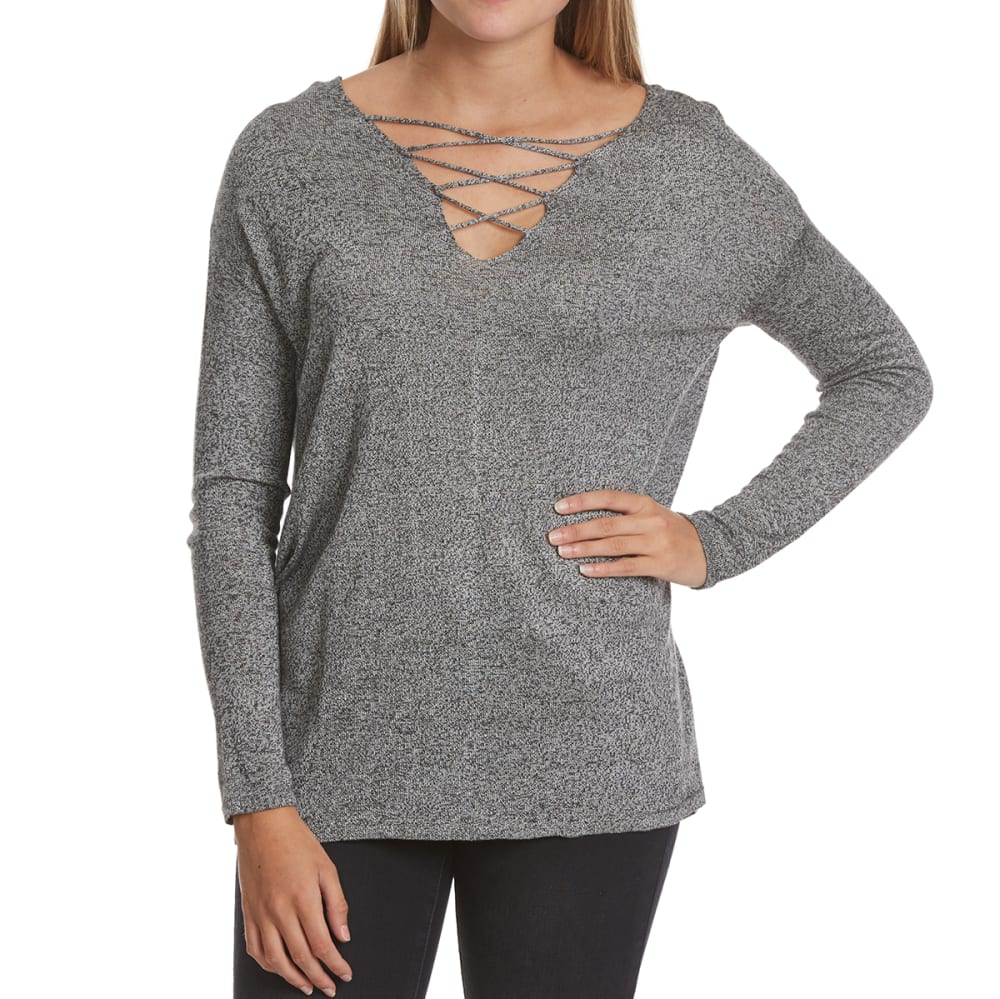 POOF Juniors' Cage Front and Back Marled Long-Sleeve Sweater - BLACK/WHT MARL