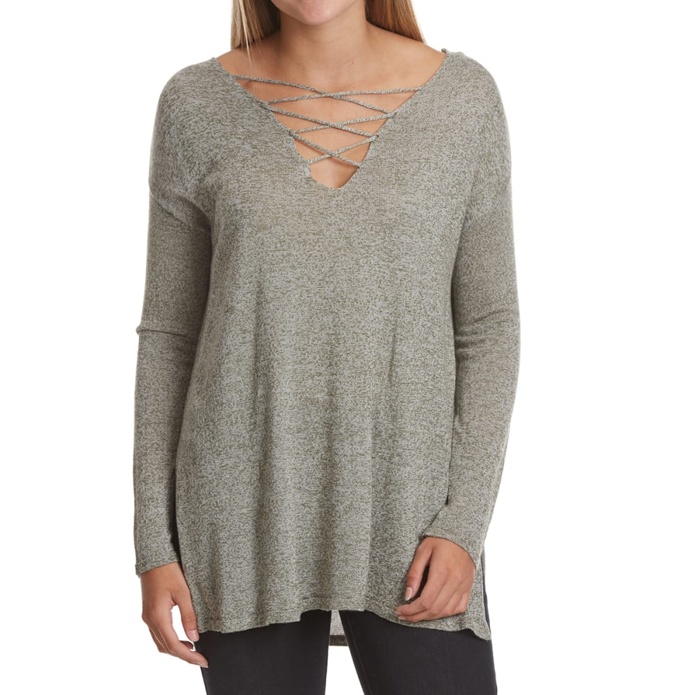 POOF Juniors' Cage Front and Back Marled Long-Sleeve Sweater - OLIVE/WHT MARL