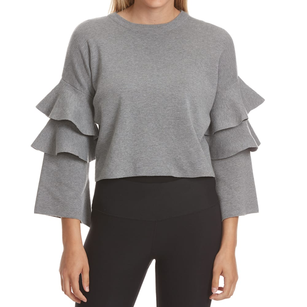 POOF Juniors' Two-Tier Ruffle-Sleeve Sweater - HTHR GREY