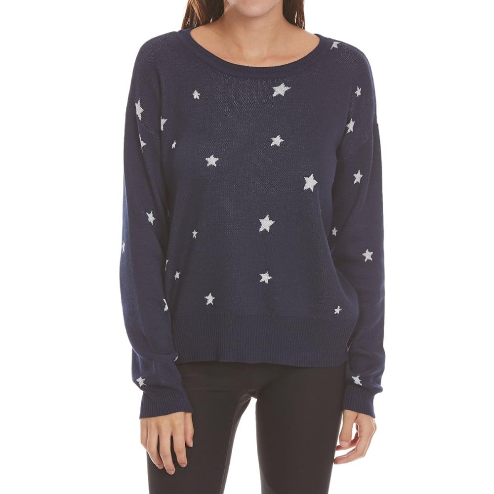 PINK ROSE Juniors Star Print Drop Shoulder Sweater - BLUE COMBO