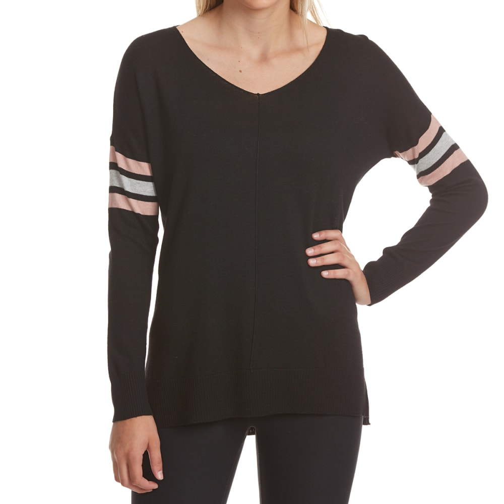 PINK ROSE Juniors' Armband Stripe V-Neck Long-Sleeve Sweater - BLACK COMBO