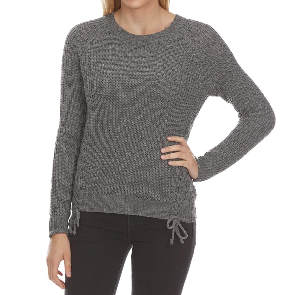 PINK ROSE Juniors' Side Lace-Up Raglan Long-Sleeve Sweater - MED H GREY