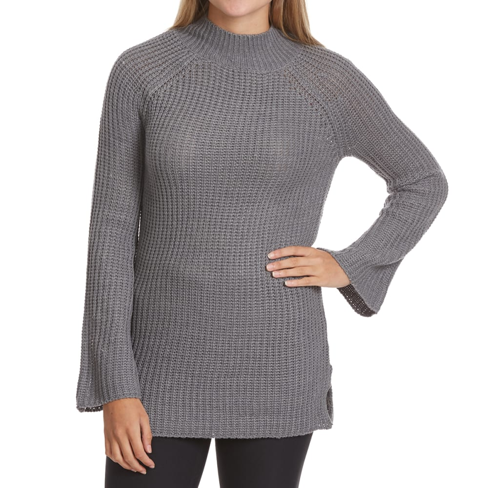 PINK ROSE Juniors' Mock Neck Side Slit Raglan Sweater - MED H GREY