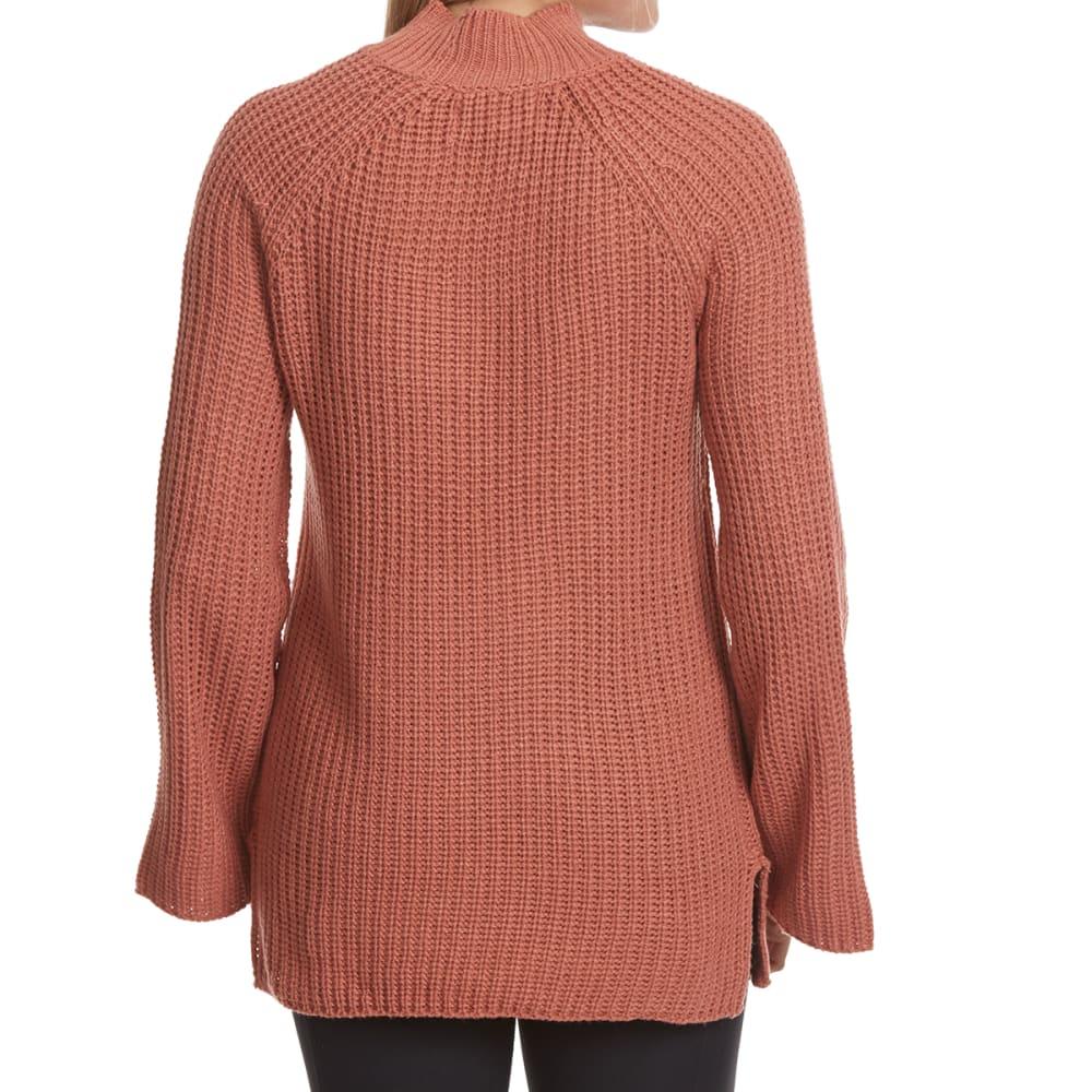 PINK ROSE Juniors' Mock Neck Side Slit Raglan Sweater - APRICOT BLUSH