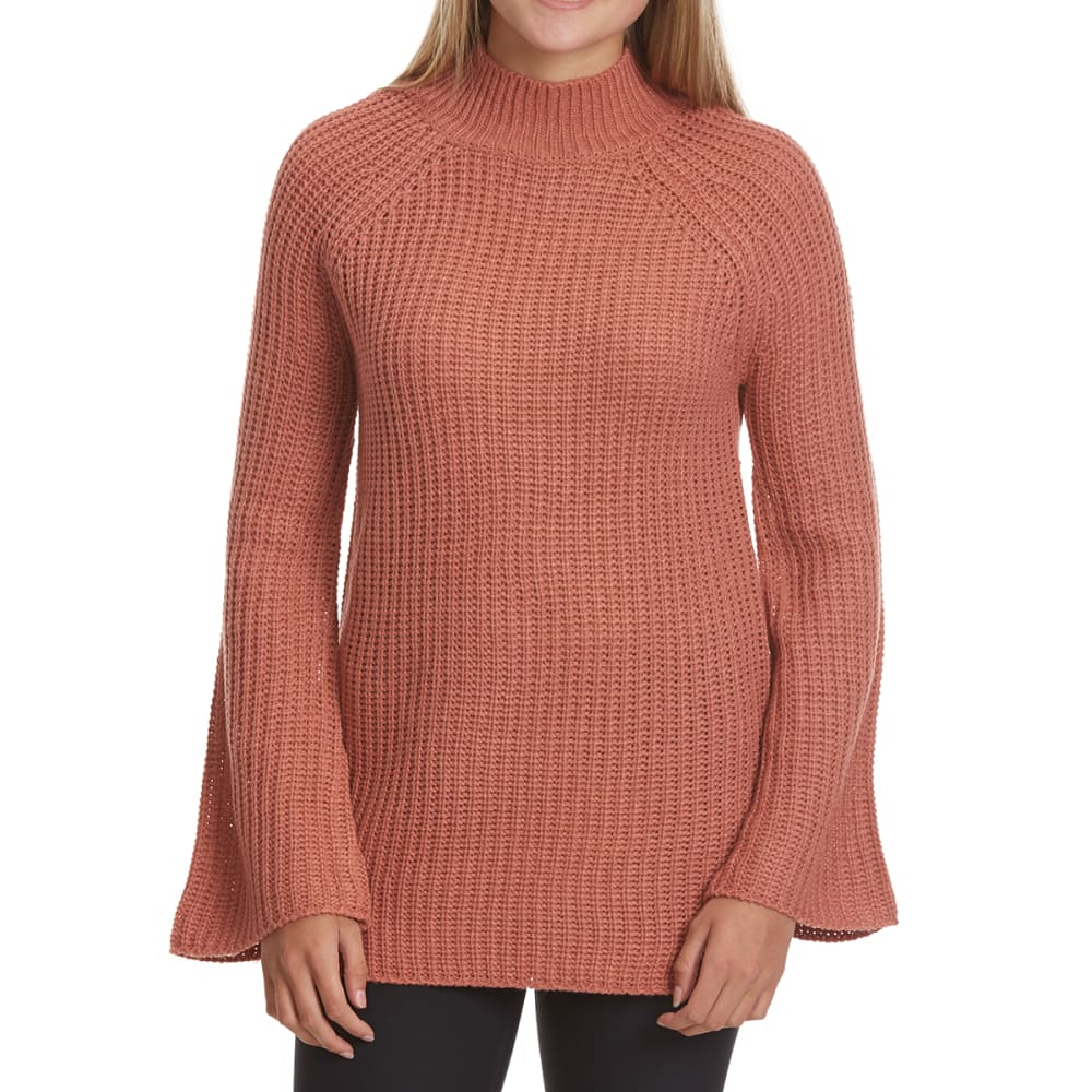 PINK ROSE Juniors' Mock Neck Side Slit Raglan Sweater - APRICOT BLUSH