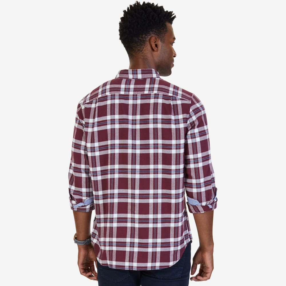 NAUTICA Men's Classic Fit Royal Plaid Flannel Long-Sleeve Shirt - ROY BURG-6GB