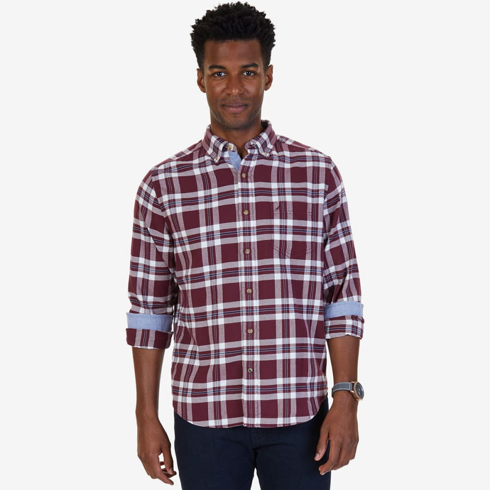 NAUTICA Men's Classic Fit Royal Plaid Flannel Long-Sleeve Shirt - ROY BURG-6GB