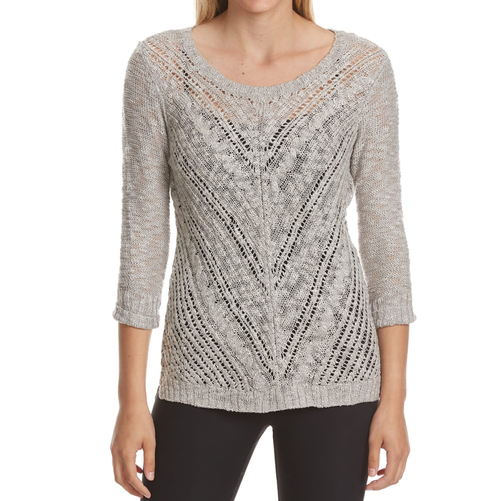 PINK ROSE Juniors' High-Low Slub Long-Sleeve Pullover - LIGHT GREY