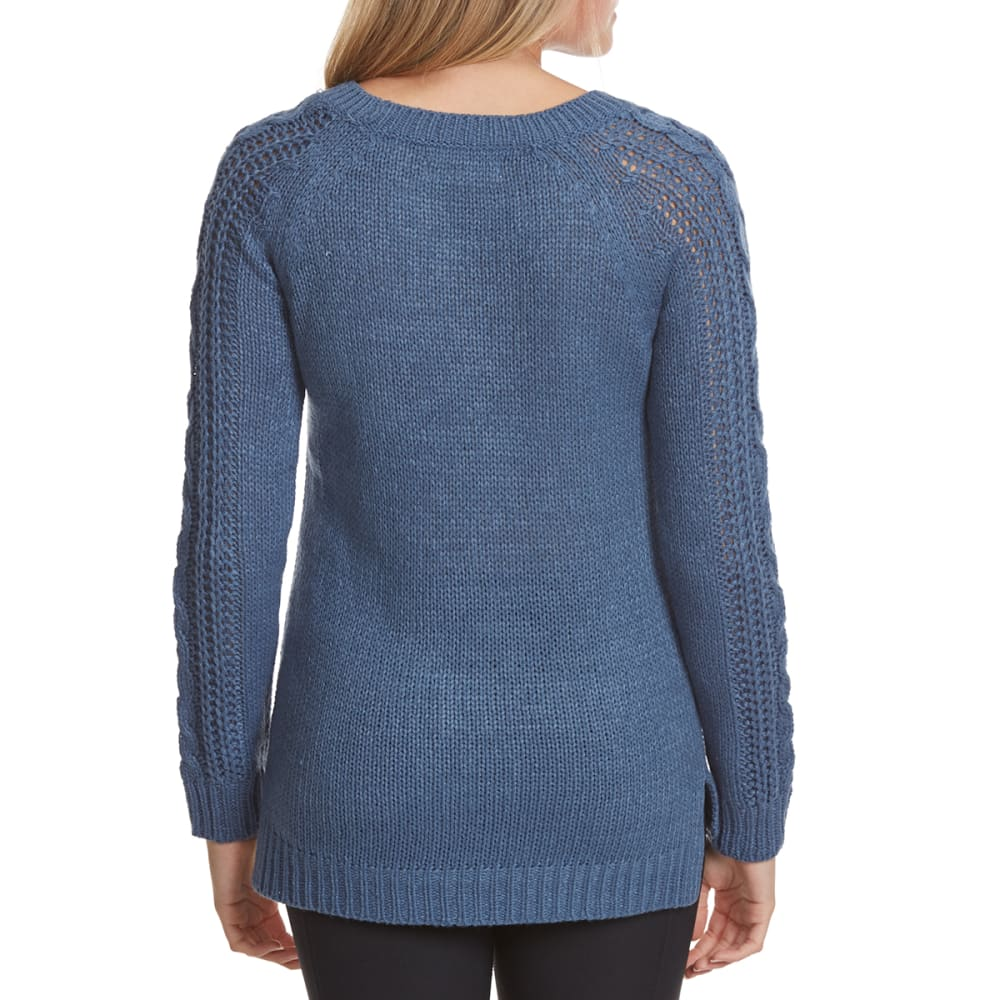 PINK ROSE Juniors' Cable Knit Pointelle Pullover Sweater - BLUE ASH