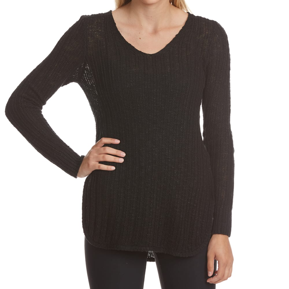 PINK ROSE Juniors' Side Lace-Up Pullover Long-Sleeve Sweater - BLACK